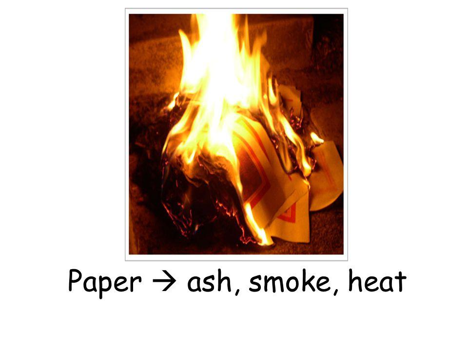Paper  ash, smoke, heat