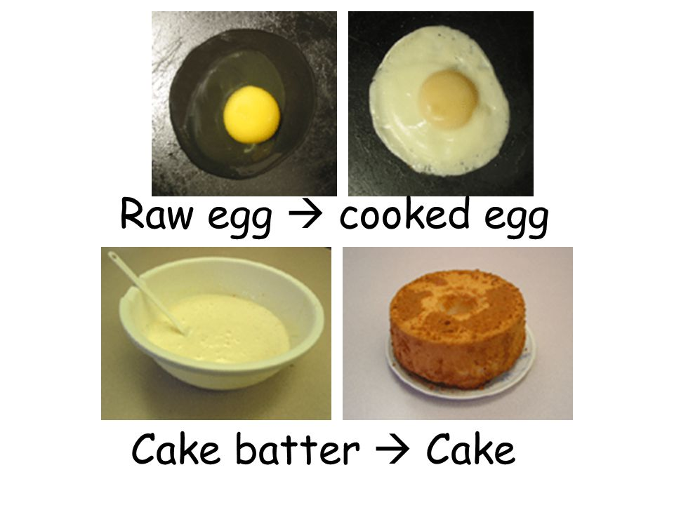 Raw egg  cooked egg Cake batter  Cake