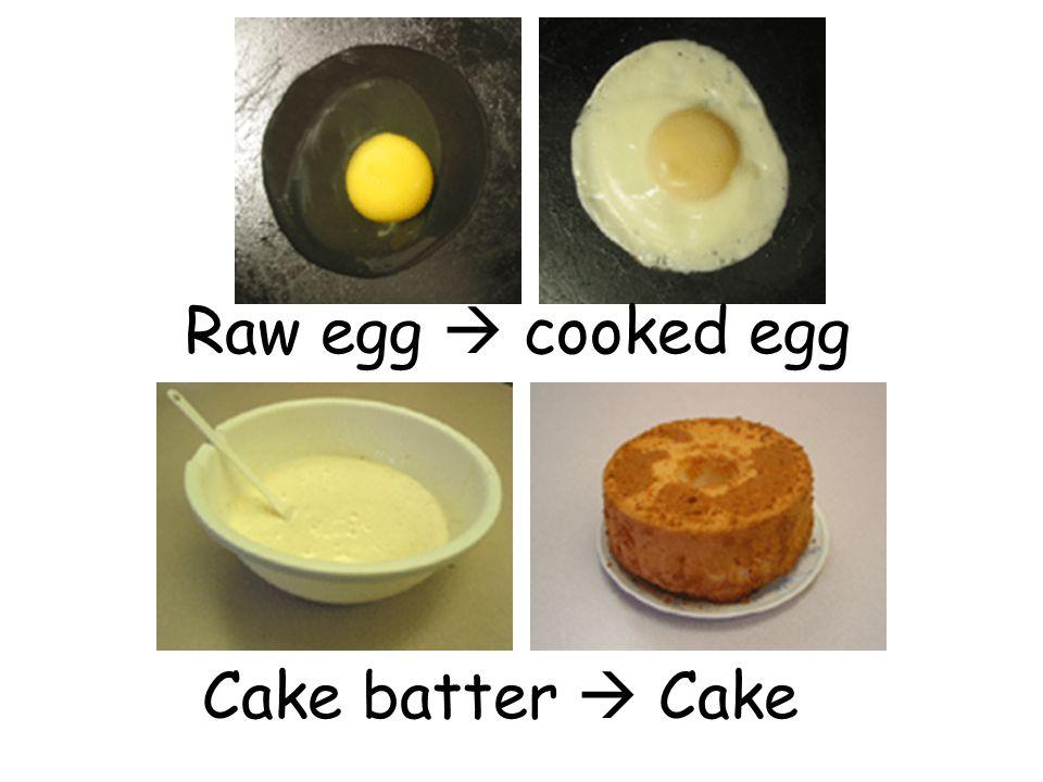 Raw egg  cooked egg Cake batter  Cake