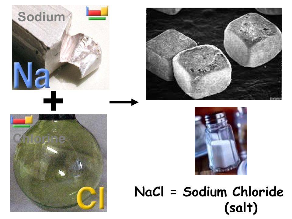 + Sodium Chlorine NaCl = Sodium Chloride (salt)