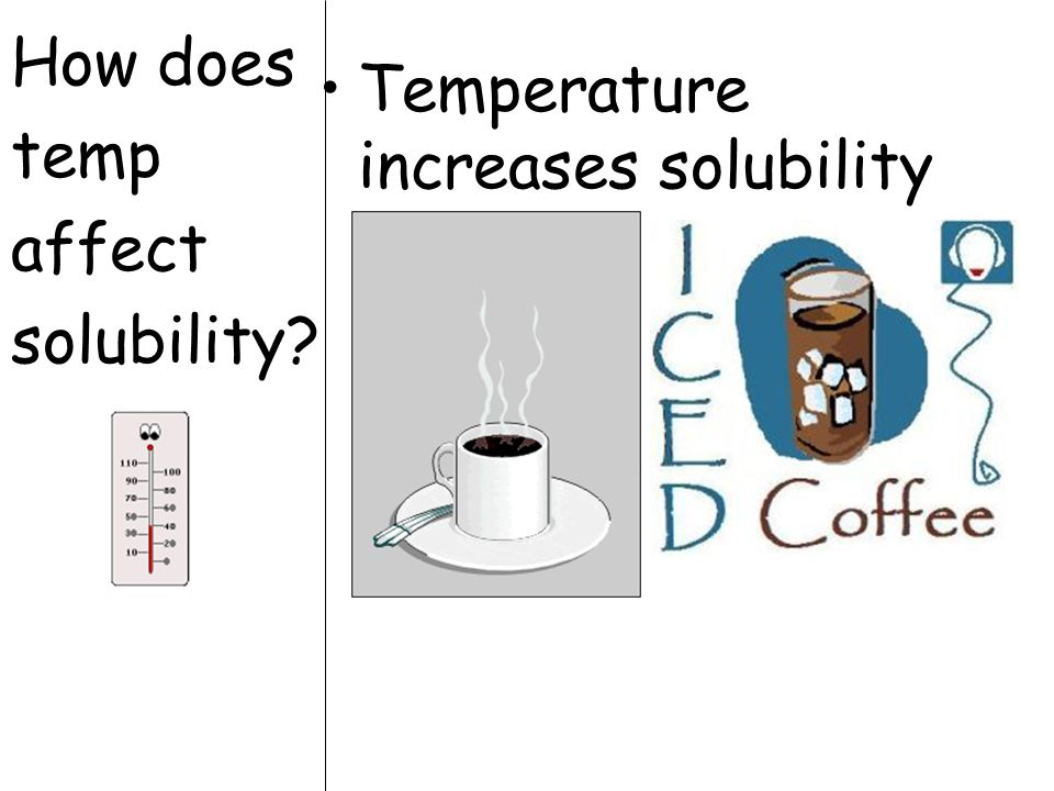 How does temp affect solubility? Temperature increases solubility