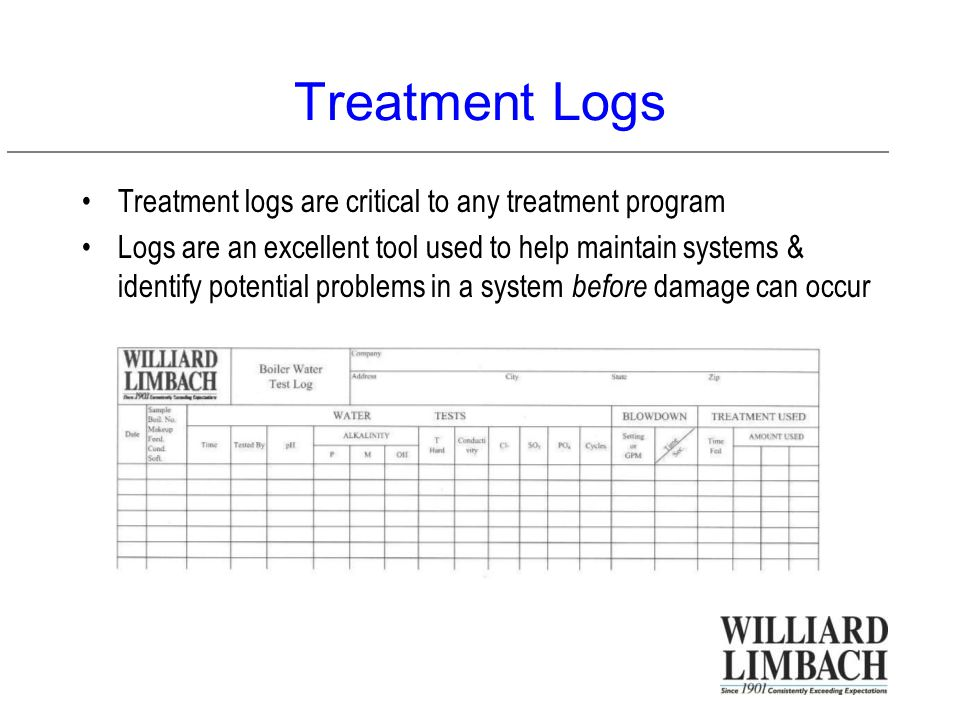 Treatment Logs Treatment logs are critical to any treatment program Logs are an excellent tool used to help maintain systems & identify potential problems in a system before damage can occur