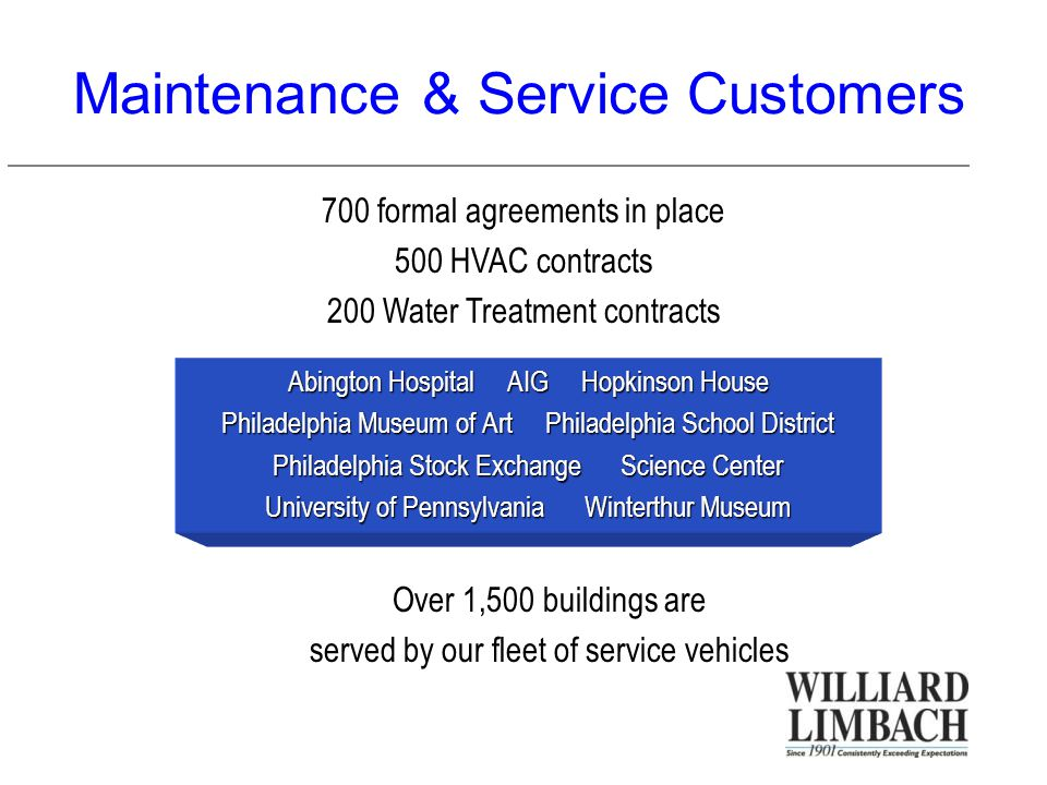 Maintenance & Service Customers Abington Hospital AIG Hopkinson House Philadelphia Museum of Art Philadelphia School District Philadelphia Stock Exchange Science Center University of Pennsylvania Winterthur Museum 700 formal agreements in place 500 HVAC contracts 200 Water Treatment contracts Over 1,500 buildings are served by our fleet of service vehicles