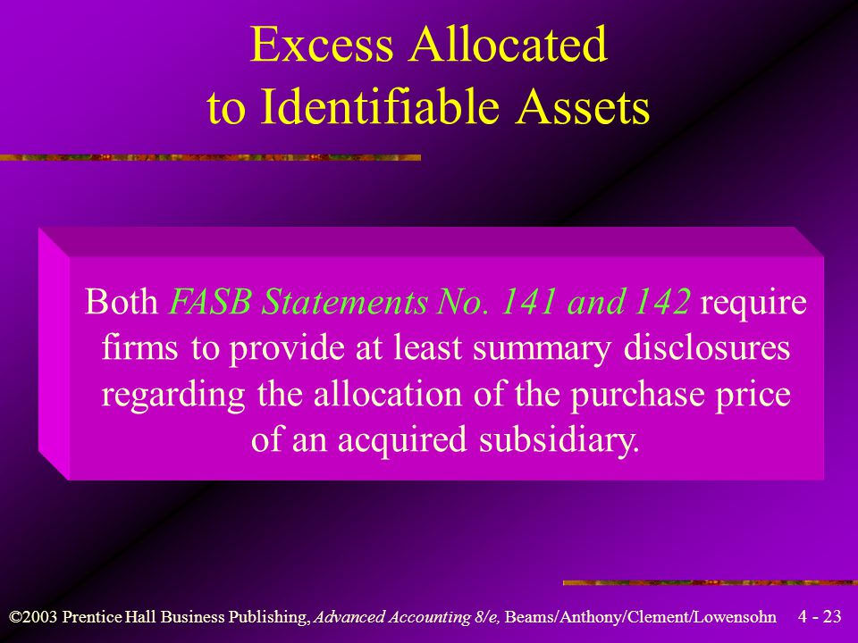 4 - 23 ©2003 Prentice Hall Business Publishing, Advanced Accounting 8/e, Beams/Anthony/Clement/Lowensohn Both FASB Statements No. 141 and 142 require