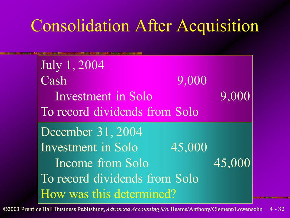 4 - 32 ©2003 Prentice Hall Business Publishing, Advanced Accounting 8/e, Beams/Anthony/Clement/Lowensohn July 1, 2004 Cash 9,000 Investment in Solo 9,