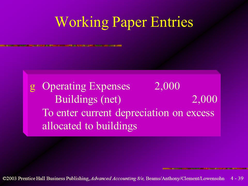4 - 39 ©2003 Prentice Hall Business Publishing, Advanced Accounting 8/e, Beams/Anthony/Clement/Lowensohn gOperating Expenses2,000 Buildings (net)2,000