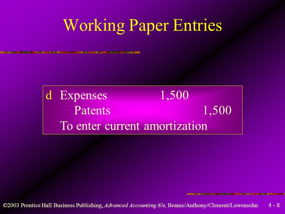 4 - 8 ©2003 Prentice Hall Business Publishing, Advanced Accounting 8/e, Beams/Anthony/Clement/Lowensohn Working Paper Entries dExpenses1,500 Patents1,