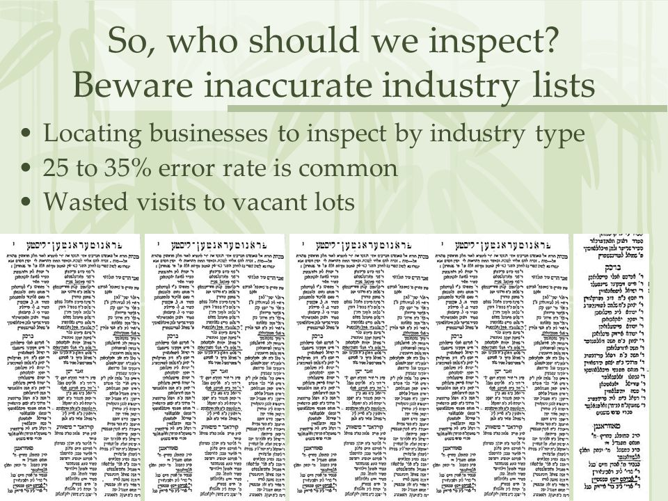 So, who should we inspect.