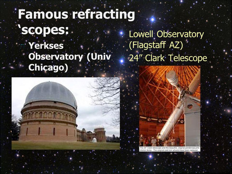 15 Famous refracting 'scopes:  Yerkses Observatory (Univ Chicago)  Lowell Observatory (Flagstaff AZ)  24 Clark Telescope