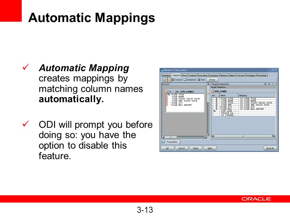 3-13 Automatic Mappings Automatic Mapping creates mappings by matching column names automatically.