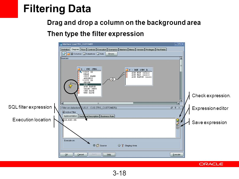 3-18 Filtering Data SQL filter expression Execution location Expression editor Save expression Check expression.