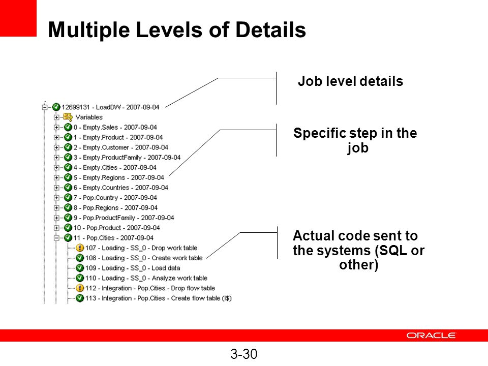 3-30 Multiple Levels of Details Job level details Specific step in the job Actual code sent to the systems (SQL or other)