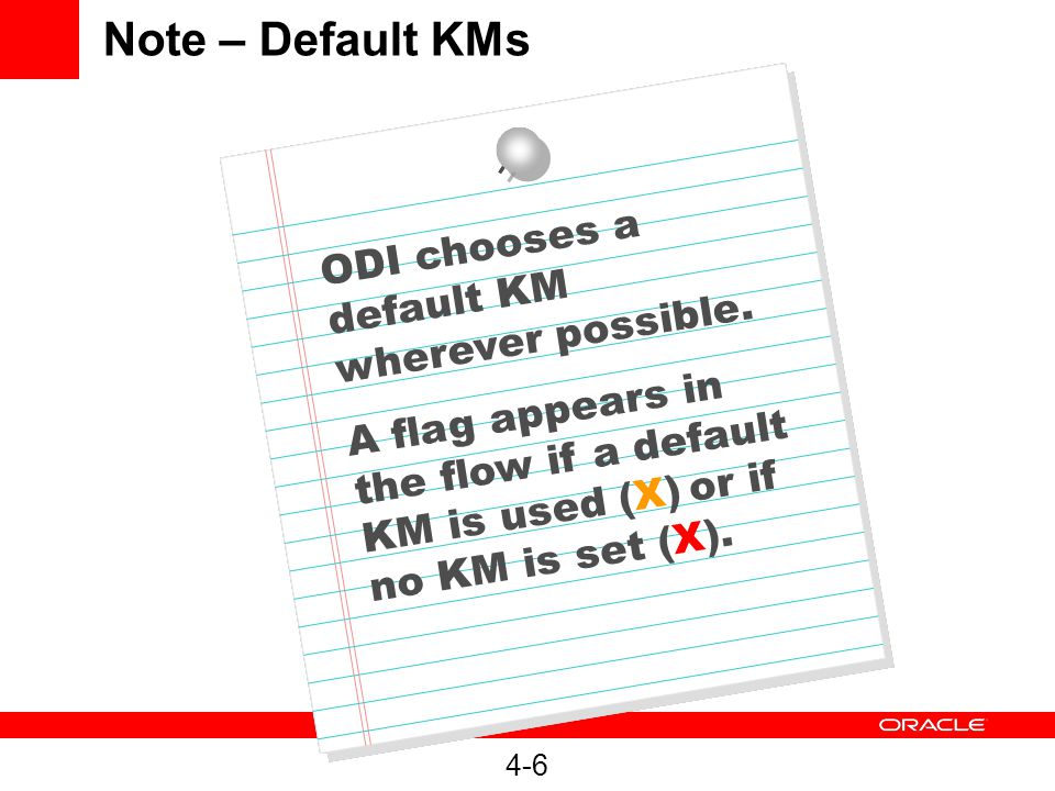 4-6 Note – Default KMs ODI chooses a default KM wherever possible.