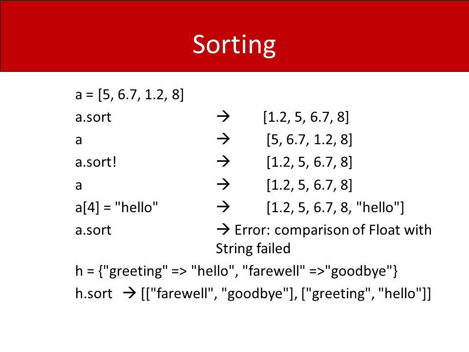 Sorting a = [5, 6.7, 1.2, 8] a.sort  [1.2, 5, 6.7, 8] a  [5, 6.7, 1.2, 8] a.sort.