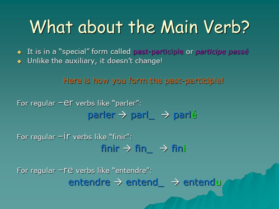 What about the Main Verb.