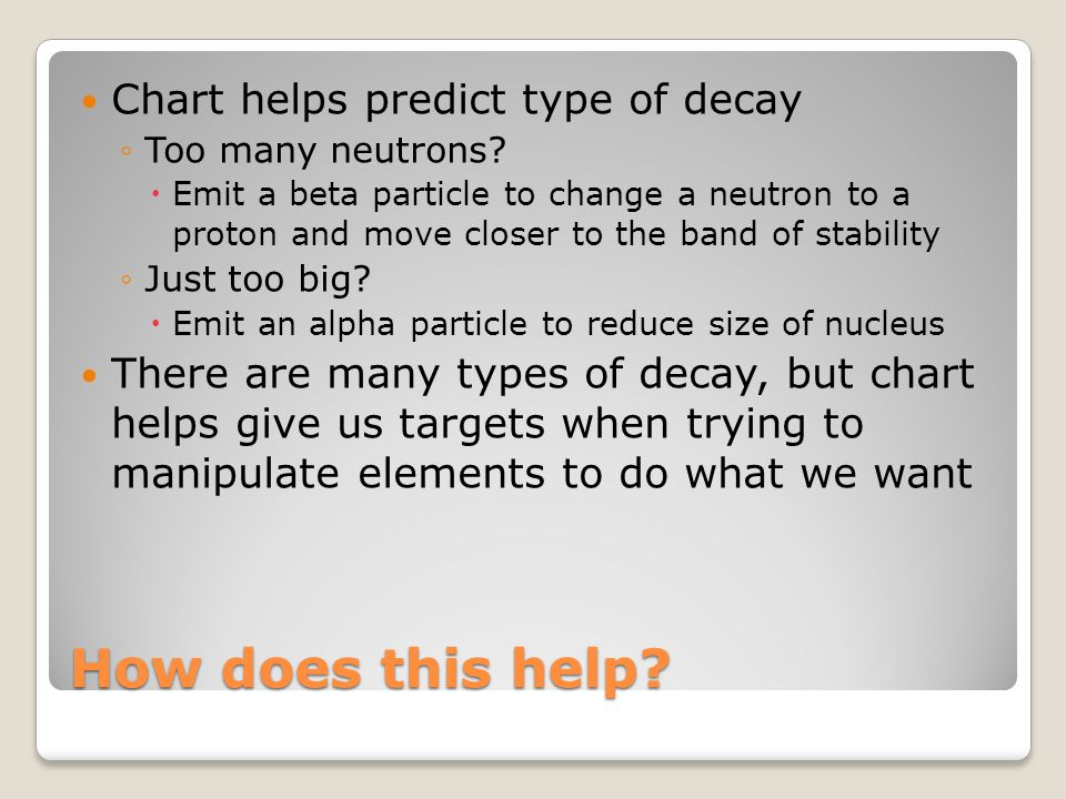 How does this help? Chart helps predict type of decay ◦Too many neutrons?  Emit a beta particle to change a neutron to a proton and move closer to th