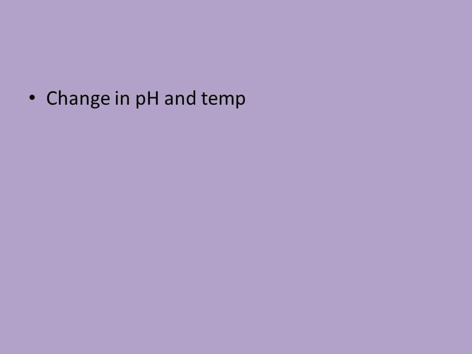 Change in pH and temp