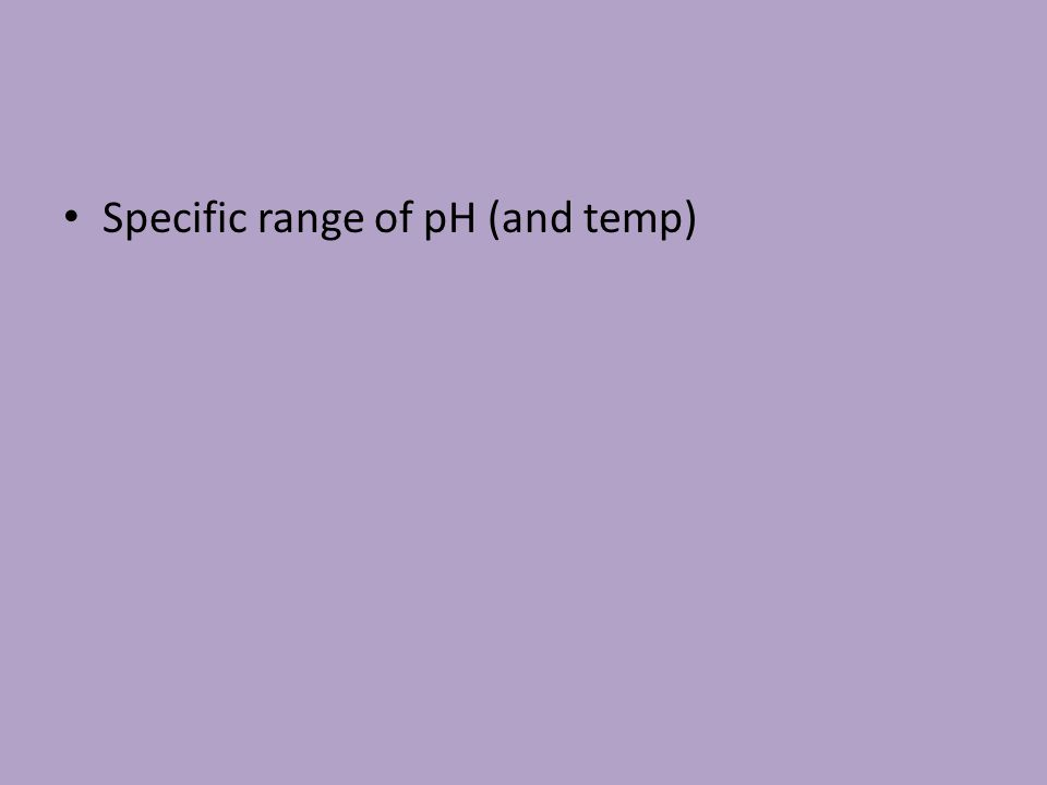 Specific range of pH (and temp)