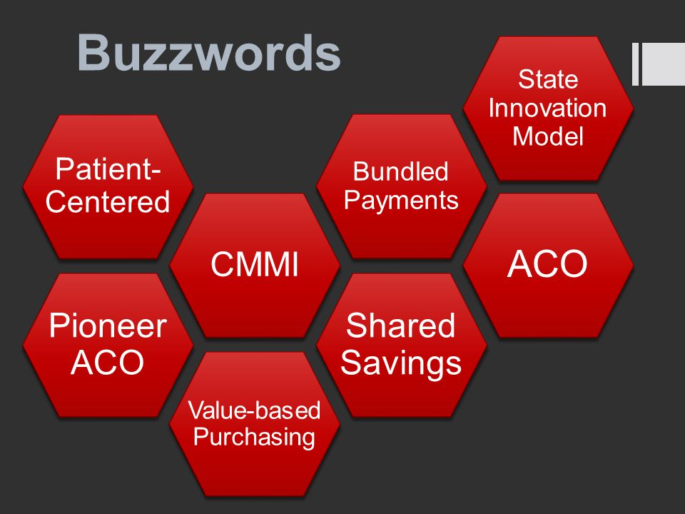 Buzzwords Pioneer ACO CMMI Patient- Centered Bundled Payments State Innovation Model ACO Value-based Purchasing Shared Savings