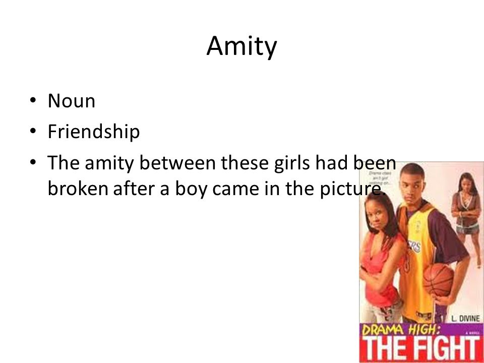 Amity Noun Friendship The amity between these girls had been broken after a boy came in the picture.