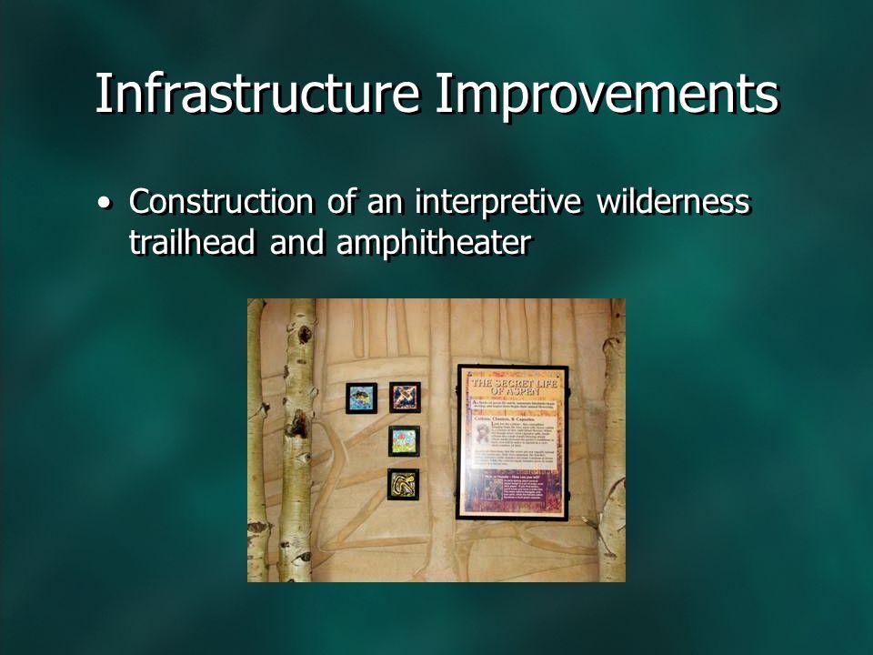 Construction of an interpretive wilderness trailhead and amphitheater Infrastructure Improvements