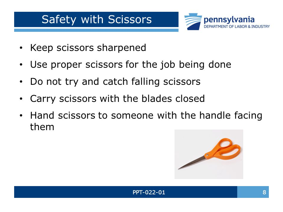 PPT-022-01 9 Sharps Safety When using a box cutter, cut away from yourself Keep box cutters closed when not in use Put broken glass in a safe container & mark it Do not pick up broken glass with your bare hands Always turn a slicer off and dial the blade to 0 before moving product or cleaning Always wear the correct PPE when cleaning a slicer When using a potato peeler, peel away from yourself