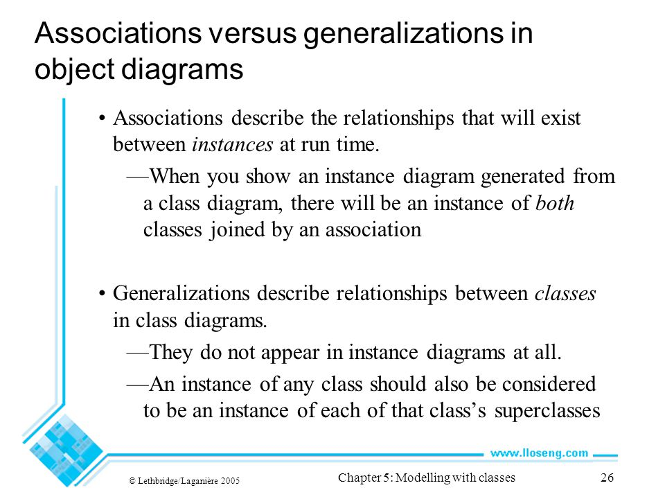 © Lethbridge/Laganière 2005 Chapter 5: Modelling with classes26 Associations versus generalizations in object diagrams Associations describe the relationships that will exist between instances at run time.