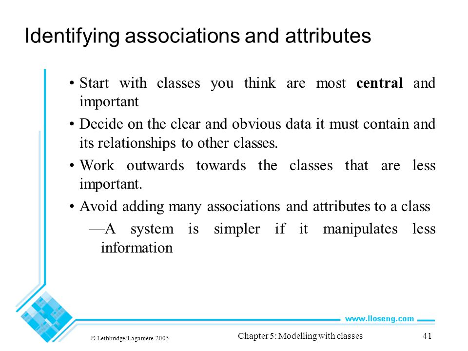 © Lethbridge/Laganière 2005 Chapter 5: Modelling with classes41 Identifying associations and attributes Start with classes you think are most central