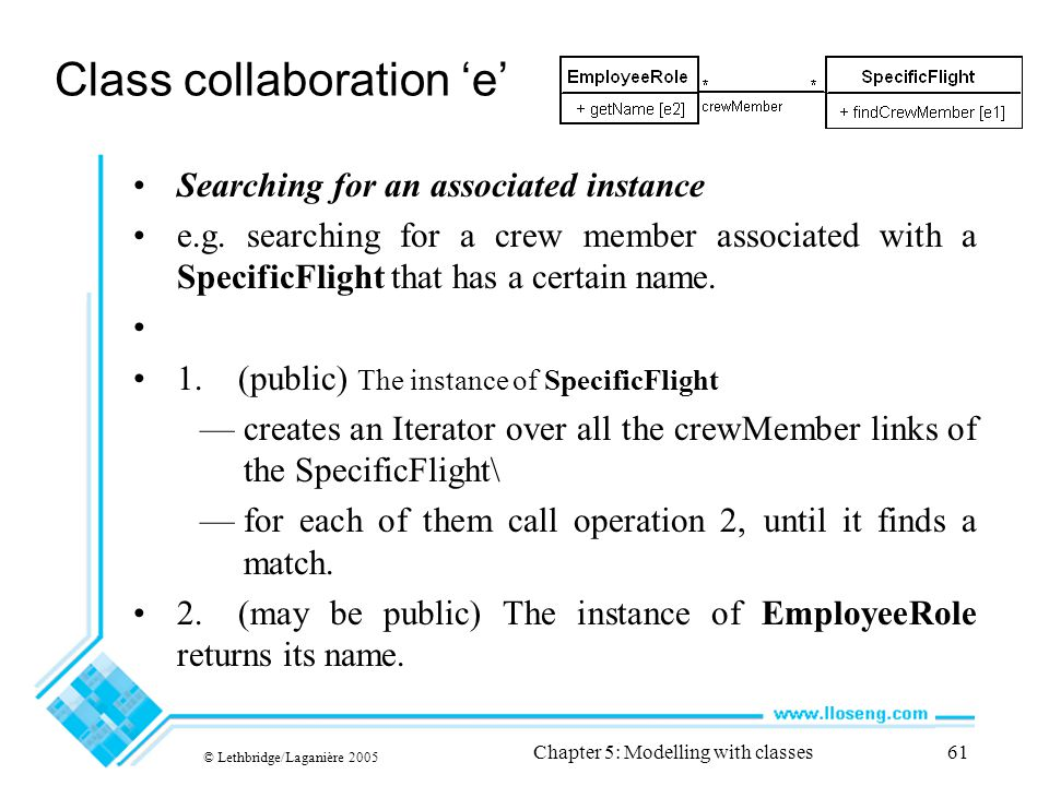 © Lethbridge/Laganière 2005 Chapter 5: Modelling with classes61 Class collaboration 'e' Searching for an associated instance e.g. searching for a crew