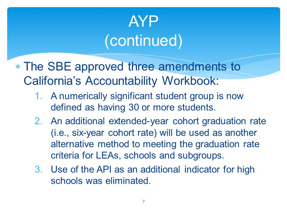  The SBE approved three amendments to California's Accountability Workbook: 1.A numerically significant student group is now defined as having 30 or more students.