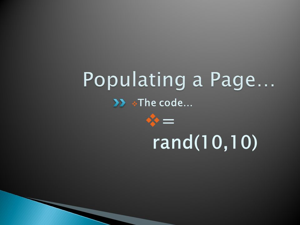  The code…  = rand(10,10)
