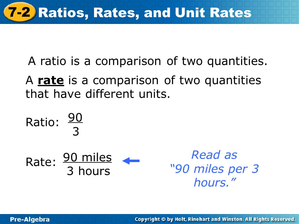 """Pre-Algebra 7-2 Ratios, Rates, and Unit Rates Ratio: 90 3 Rate: 90 miles 3 hours Read as """"90 miles per 3 hours."""" A rate is a comparison of two quantit"""