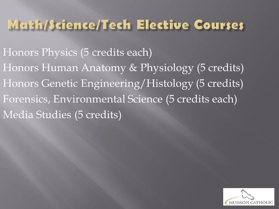 Honors Physics (5 credits each) Honors Human Anatomy & Physiology (5 credits) Honors Genetic Engineering/Histology (5 credits) Forensics, Environmental Science (5 credits each) Media Studies (5 credits)