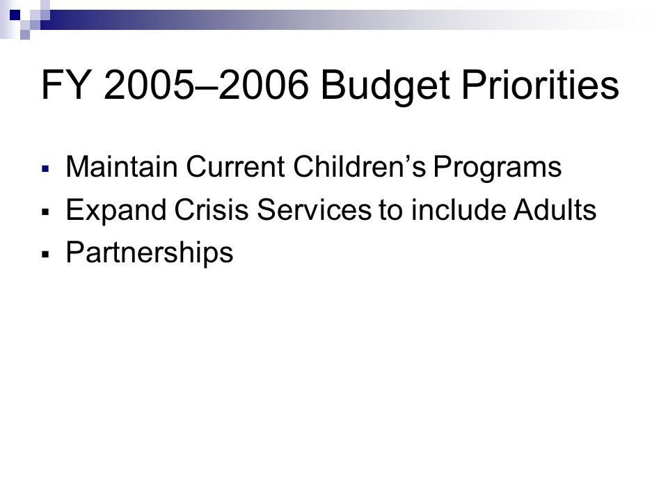 FY 2005–2006 Budget Priorities  Maintain Current Children's Programs  Expand Crisis Services to include Adults  Partnerships
