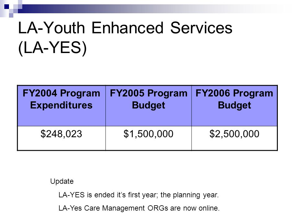 LA-Youth Enhanced Services (LA-YES) FY2004 Program Expenditures FY2005 Program Budget FY2006 Program Budget $248,023$1,500,000$2,500,000 Update LA-YES is ended it's first year; the planning year.