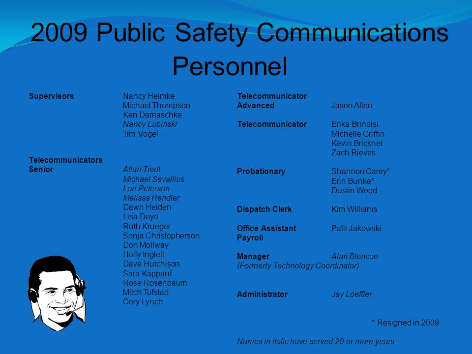 2009 Public Safety Communications Supervisors Nancy Heimke Michael Thompson Ken Damaschke Nancy Lubinski Tim Vogel Telecommunicators SeniorAllan Tiedt Michael Sevallius Lori Peterson Melissa Rendler Dawn Heiden Lisa Deyo Ruth Krueger Sonja Christopherson Don Mollway Holly Inglett Dave Hutchison Sara Kappauf Rose Rosenbaum Mitch Tofstad Cory Lynch Telecommunicator AdvancedJason Allen TelecommunicatorErika Brindisi Michelle Griffin Kevin Brickner Zach Rieves ProbationaryShannon Carey* Erin Bunke* Dustin Wood Dispatch ClerkKim Williams Office Assistant Patti Jakowski Payroll ManagerAlan Blencoe (Formerly Technology Coordinator) AdministratorJay Loeffler * Resigned in 2009 Names in italic have served 20 or more years Personnel