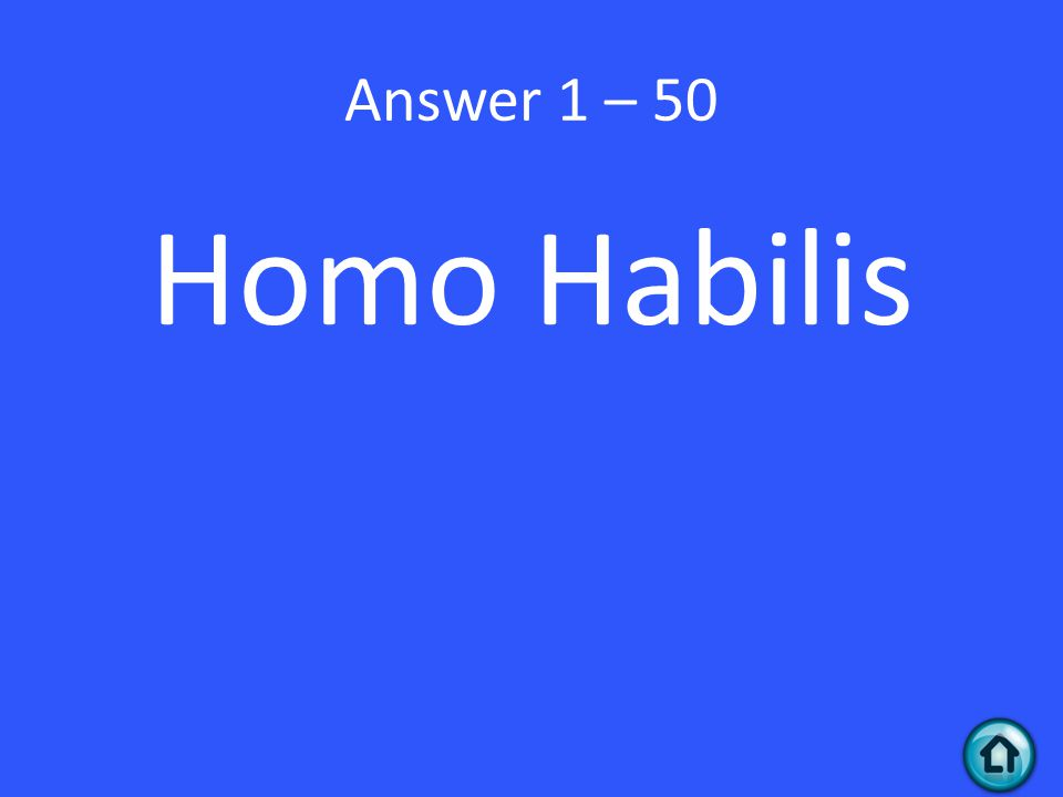 Answer 1 – 50 Homo Habilis