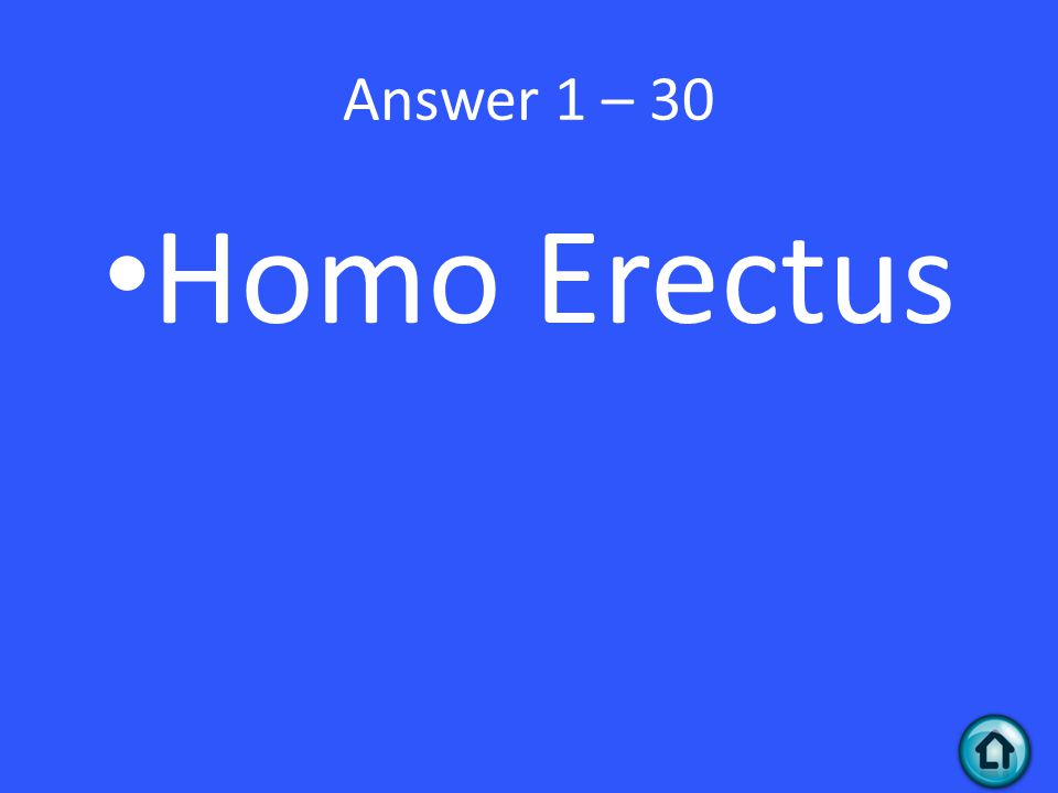 Answer 1 – 30 Homo Erectus