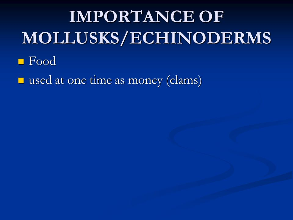 IMPORTANCE OF MOLLUSKS/ECHINODERMS Food Food used at one time as money (clams) used at one time as money (clams)