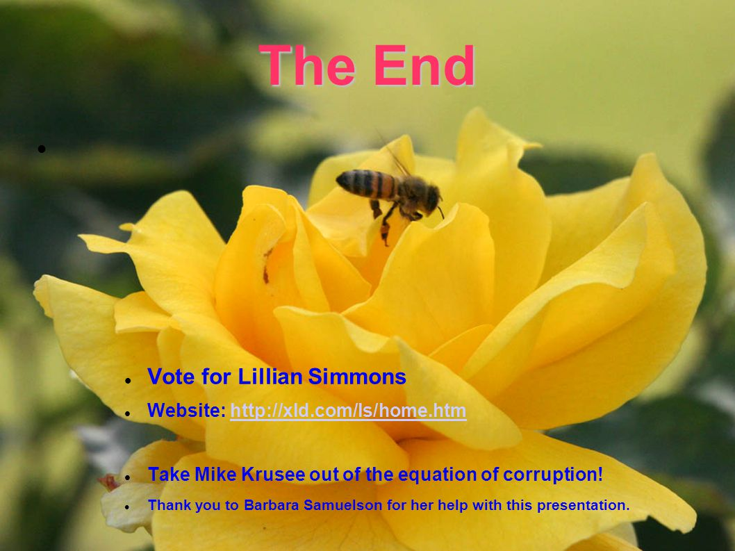 The End Vote for Lillian Simmons Website: http://xld.com/ls/home.htmhttp://xld.com/ls/home.htm Take Mike Krusee out of the equation of corruption.