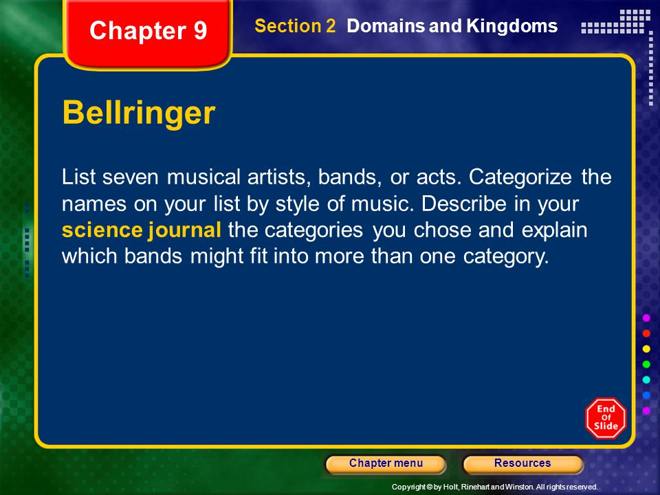 Copyright © by Holt, Rinehart and Winston. All rights reserved. ResourcesChapter menu Section 2 Domains and Kingdoms Bellringer List seven musical art