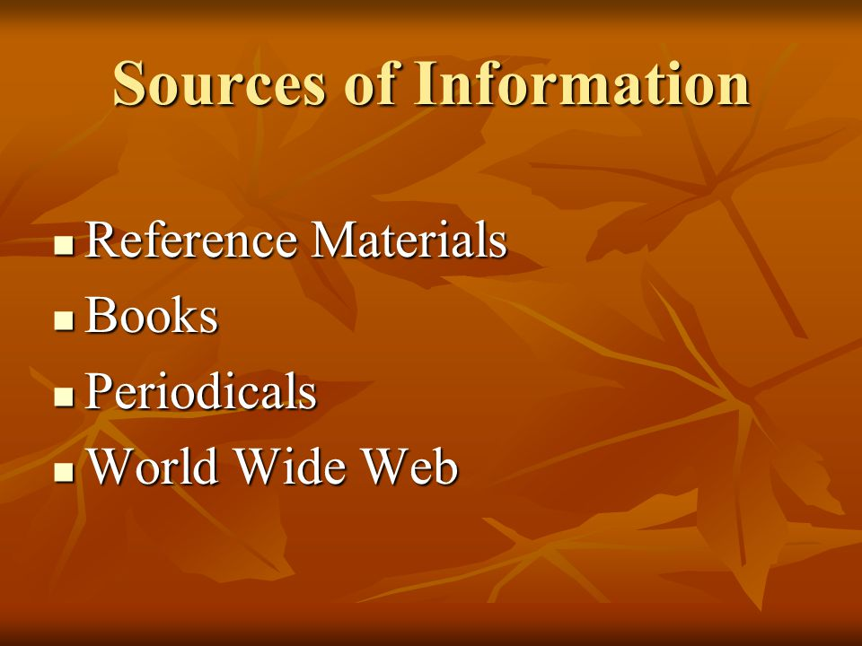Library Search Tools To Find… Use… Books Library Catalogs Reference Info Catalogs or Reference Databases Articles from Periodicals Article Databases