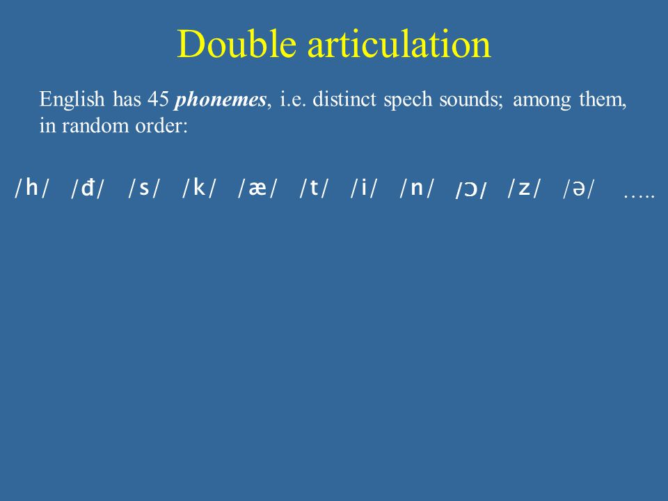 Double articulation English has 45 phonemes, i.e.