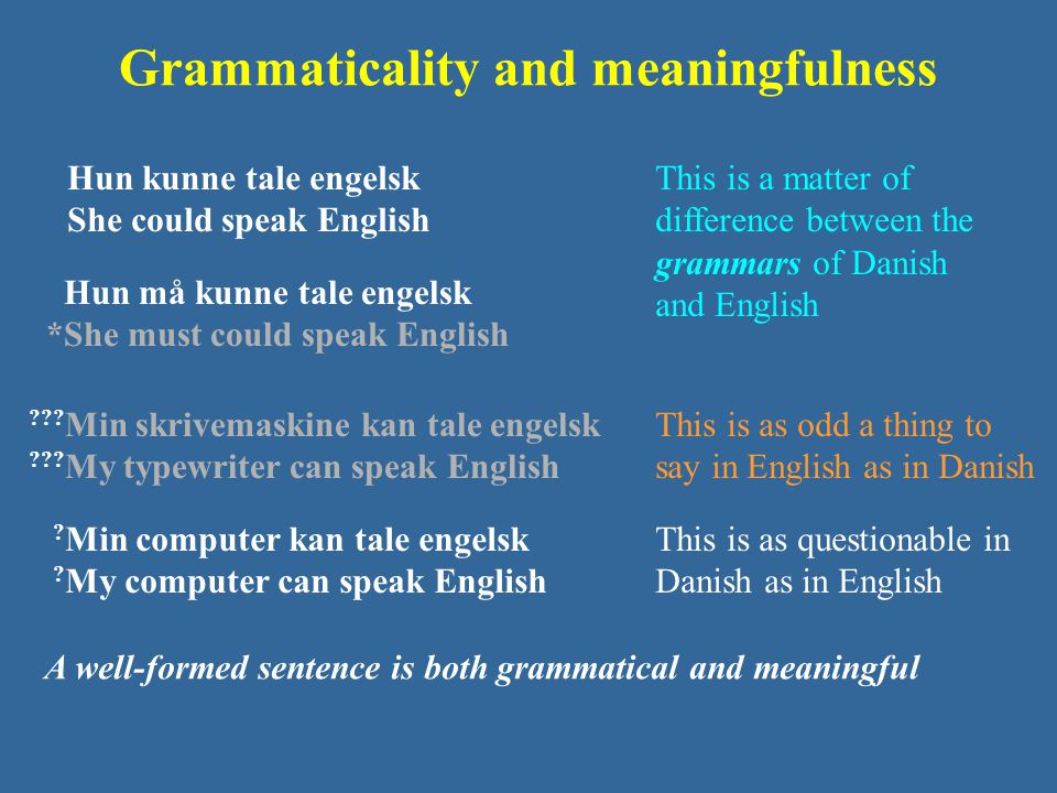 Grammaticality and meaningfulness Hun må kunne tale engelsk *She must could speak English Hun kunne tale engelsk She could speak English .