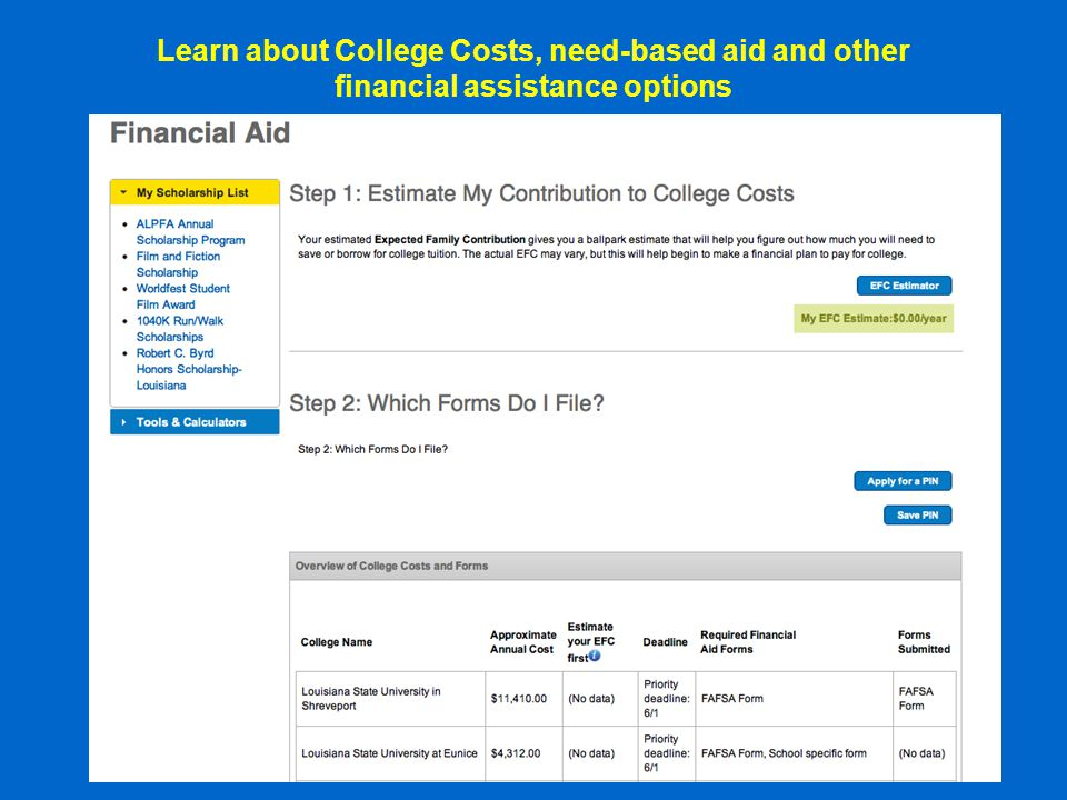 Learn about College Costs, need-based aid and other financial assistance options