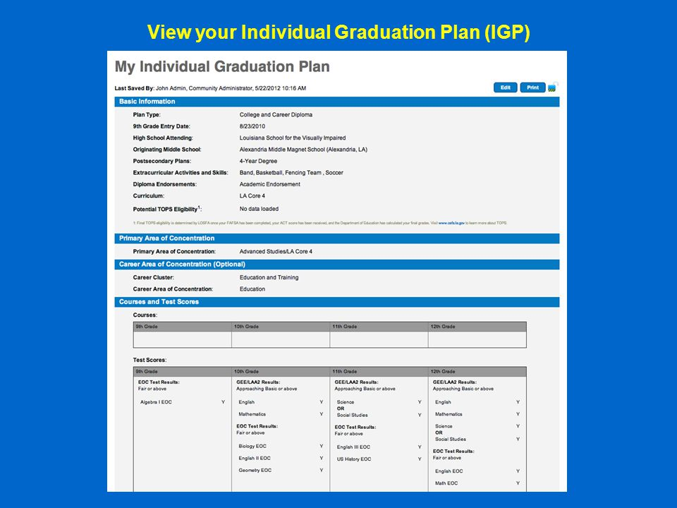 View your Individual Graduation Plan (IGP)