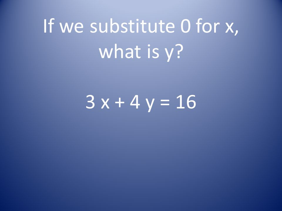 If we substitute 0 for x, what is y? 3 x + 4 y = 16