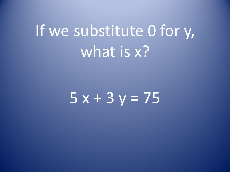 If we substitute 0 for y, what is x? 5 x + 3 y = 75