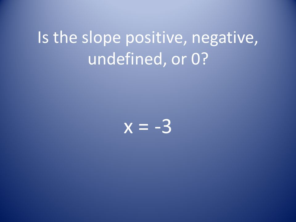 Is the slope positive, negative, undefined, or 0? x = -3