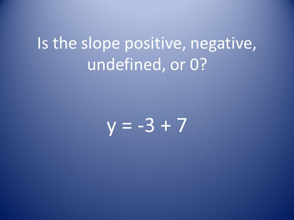 Is the slope positive, negative, undefined, or 0? y = -3 + 7